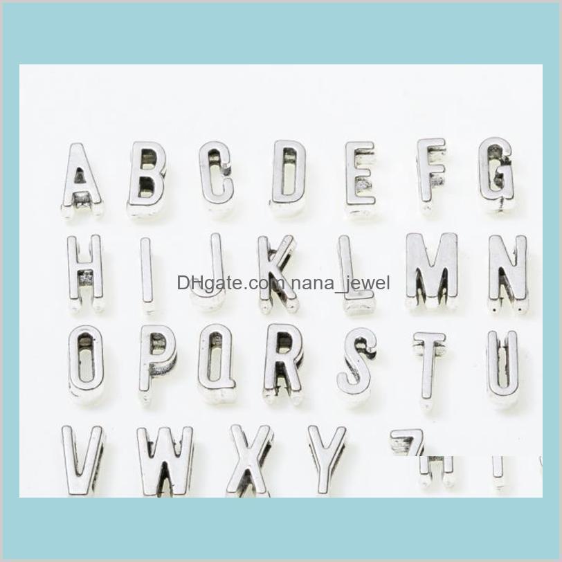 A-Z Antique silver Slide Letters Charms