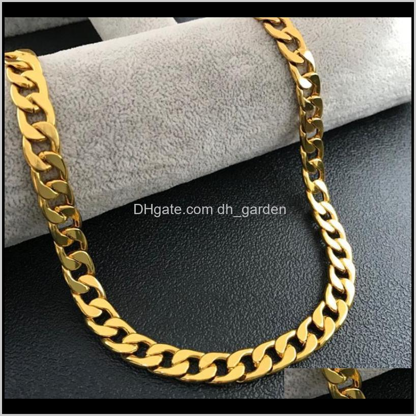 never fade fashion party gift cuban chain necklace men hip hop jewelry 18k real gold plated 10mm chain necklaces for women mens