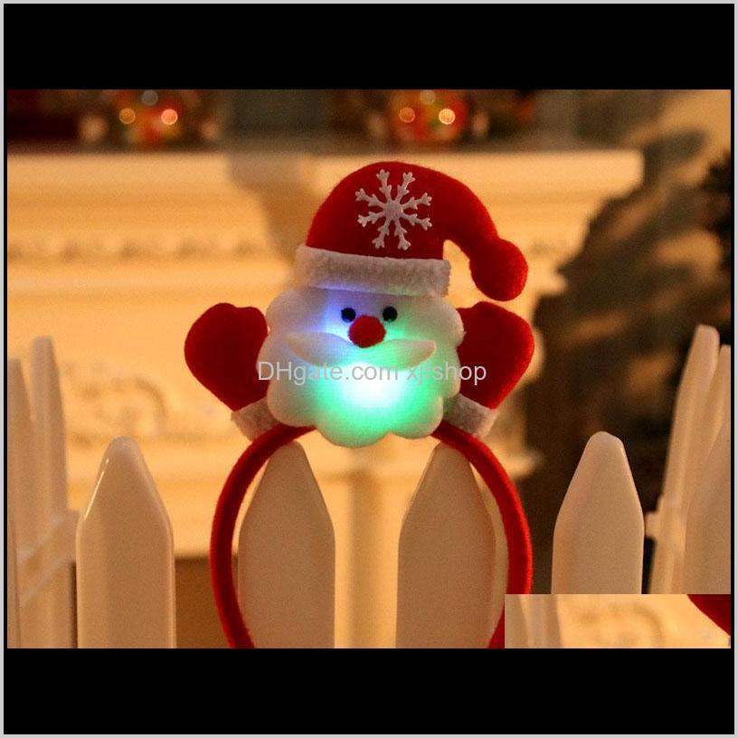 led christmas hairpin hat watch band boys girls unisex christmas gift festival holiday cartoon hairbands headwear accessories