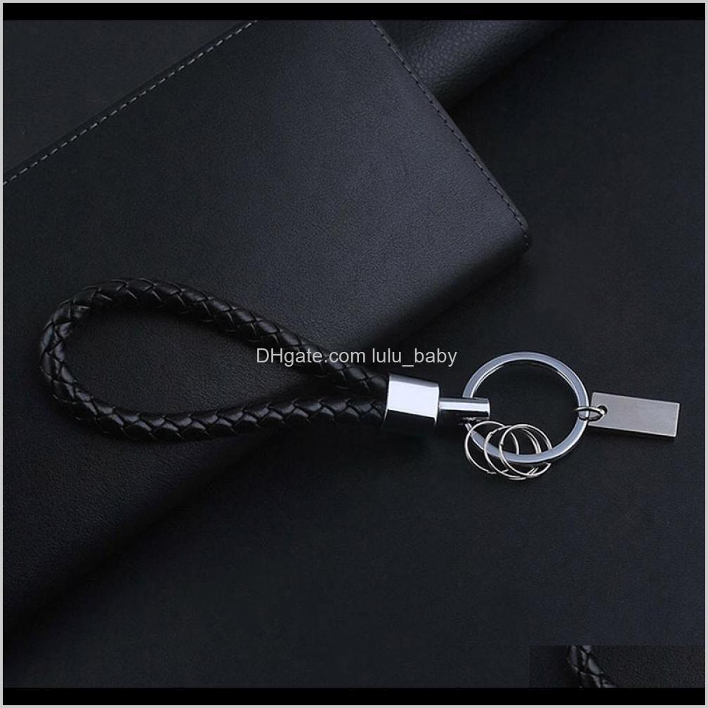 black leather keychain holder keyring silver keychain car key chain key rings women men jewelry gift