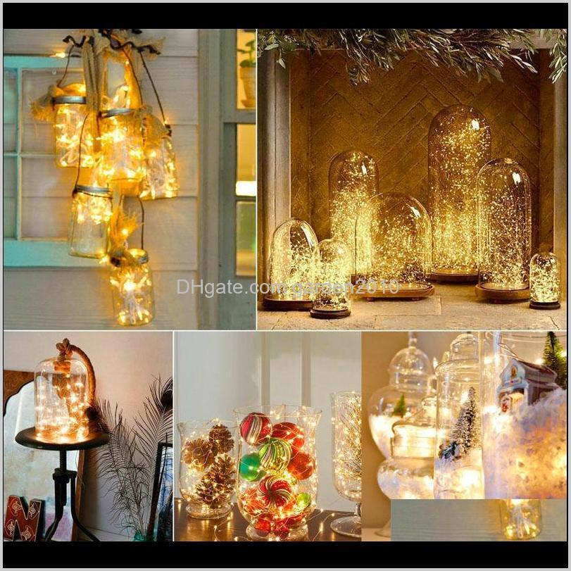 10pcs/lot copper led fairy lights 2m 20 leds cr2032 button battery operated led string light xmas wedding party decoration 201130
