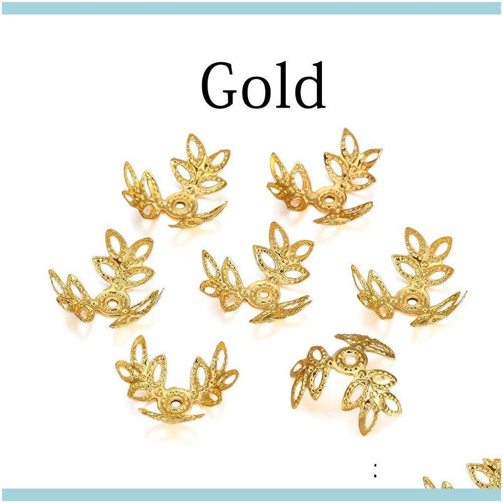 100pcs Lot 16x16mm Metallic Kc Gold Three Leaves Spacer Beads End Cap For Diy Jewelry Making Bracelet Findings Supplies H jllHxc