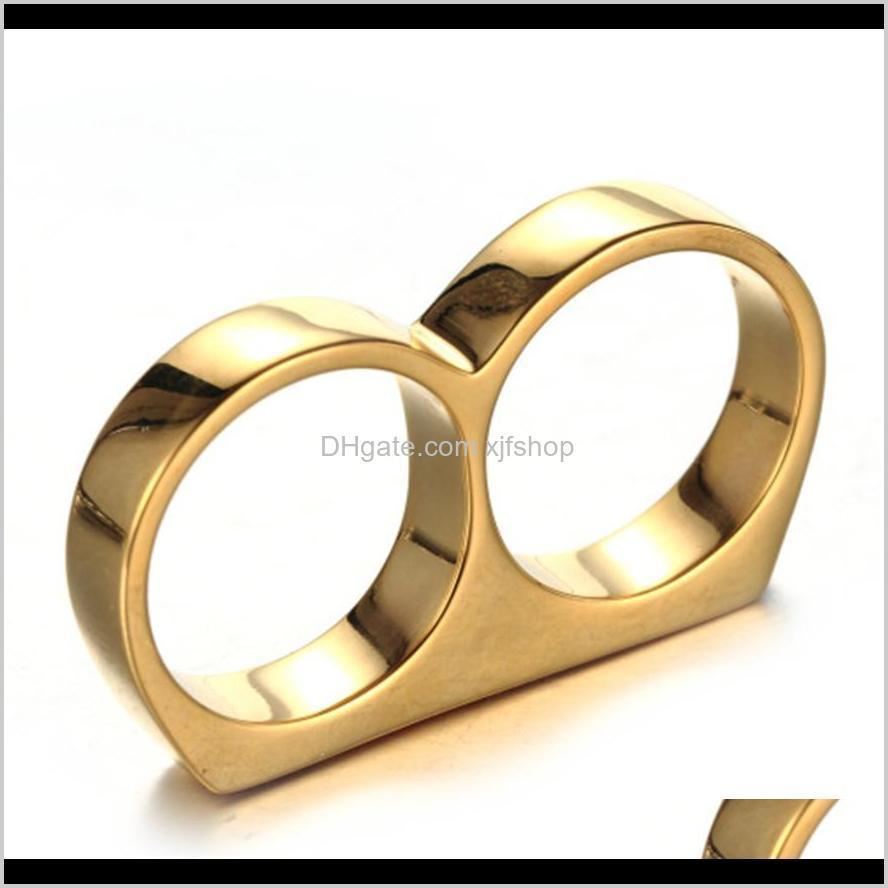 gold black two-color stainless steel double ring double finger 2 generation singular dr. simple titanium steel ring unisex