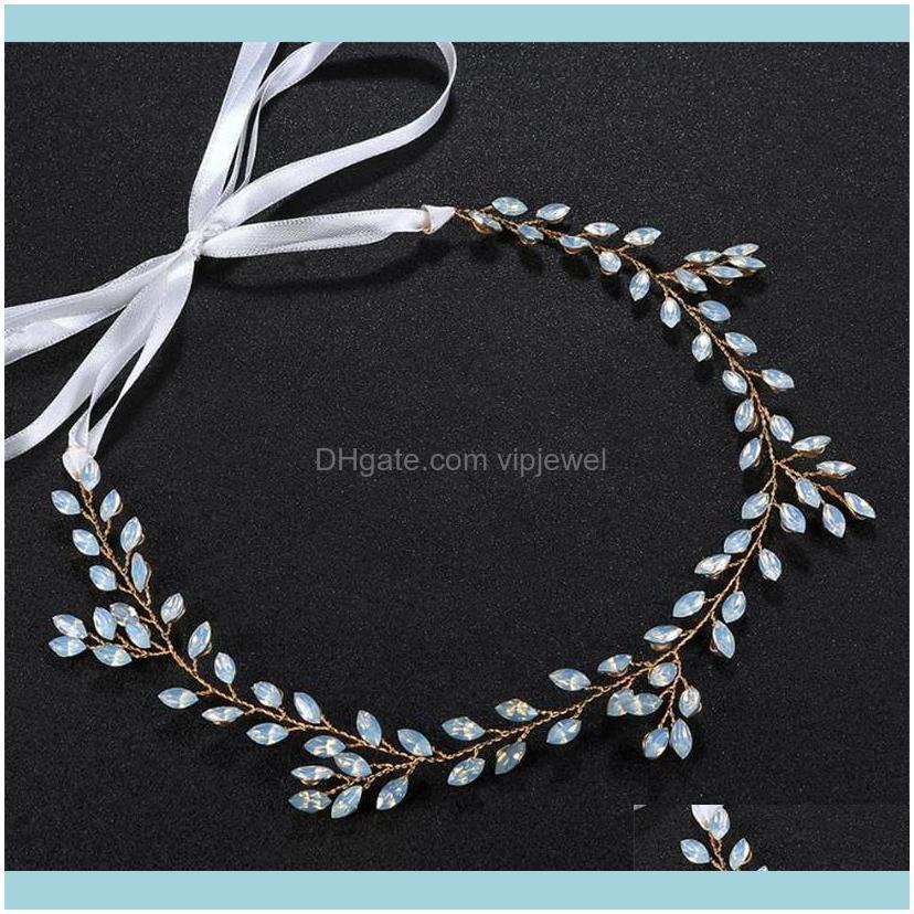 Vintage Wedding Bridal Rhinestone Headband Ribbon Crystal Hair Accessories Jewelry Gold Silver Headdress Princess Queen Headpiece