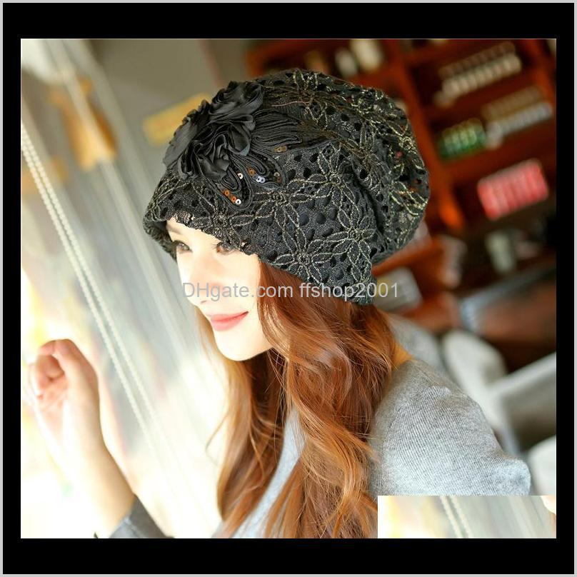 new women skullies beanies autumn winter bonnet lace hollow out flowers korean adult fashion hat cap for women