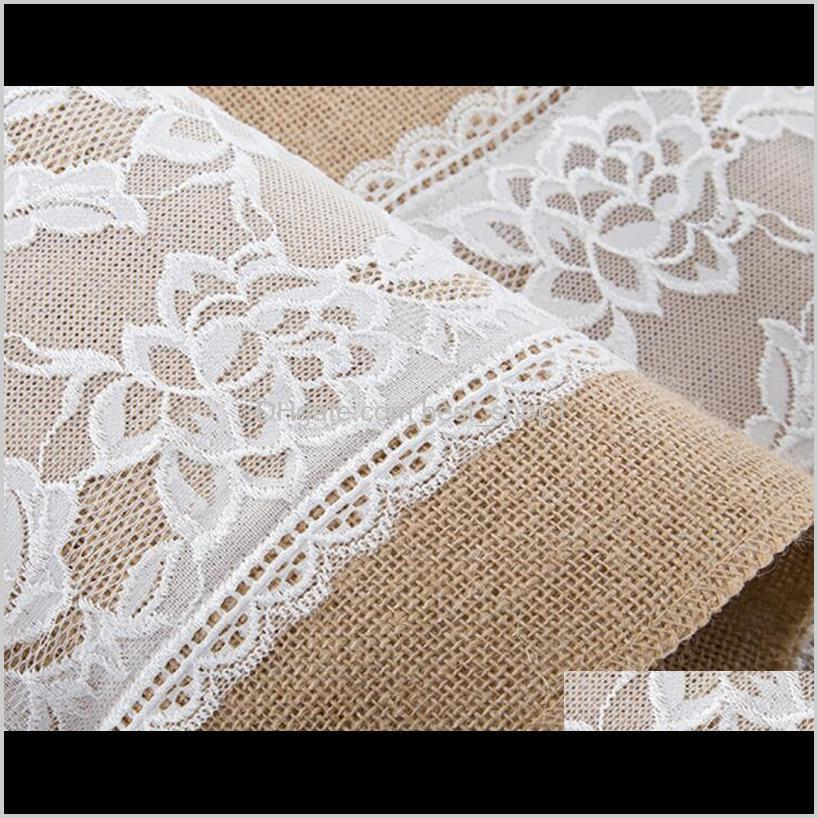 linen lace table runner vintage burlap lace table runner natural jute country for party wedding decoration