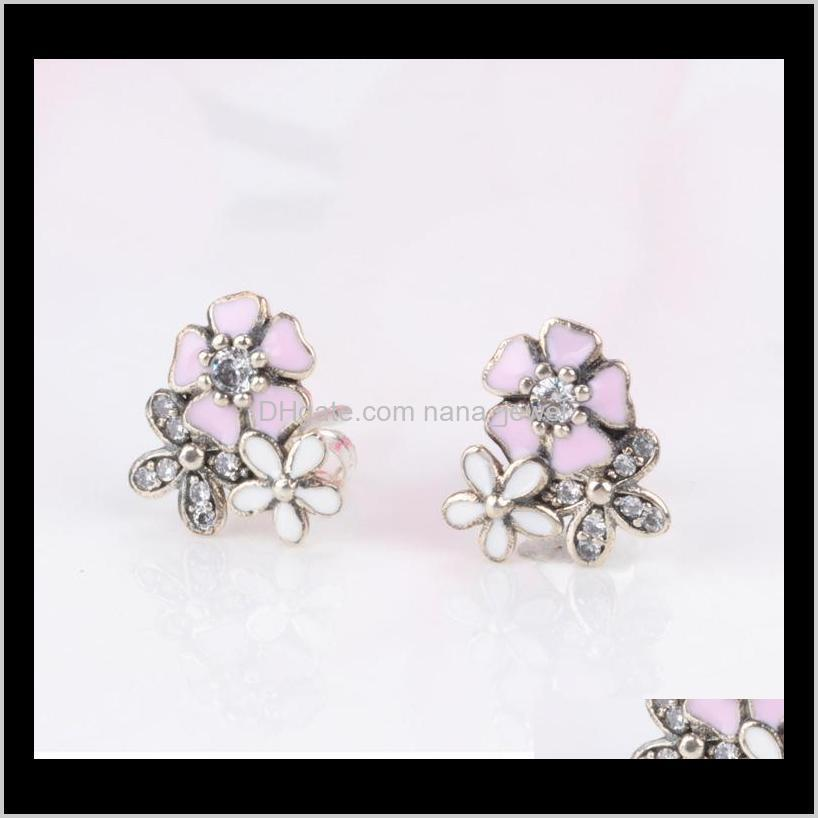authentic 925 sterling silver pink enamel flower pendant necklace earring set with box for pandora jewelry womens earrings