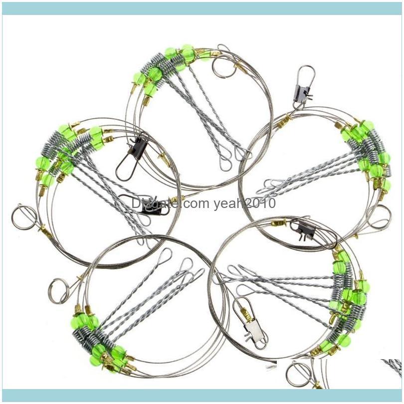 Sea Fishing Hook Anti-Winding Swivel String Steel Rigs Wire Leader Fish Hooks