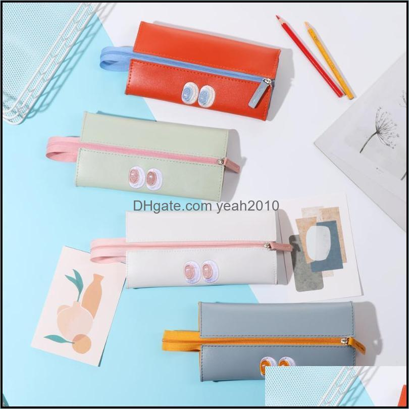 20.5*10.5cm Folding Pencil Case Simple Fashion Cosmetic Storage Makeup Pouch Zipper Large Capacity Organizer Handbags School Bags