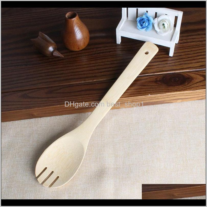 bamboo spoon spatula 6 styles portable wooden utensil kitchen cooking turners slotted mixing holder shovels gwe2911
