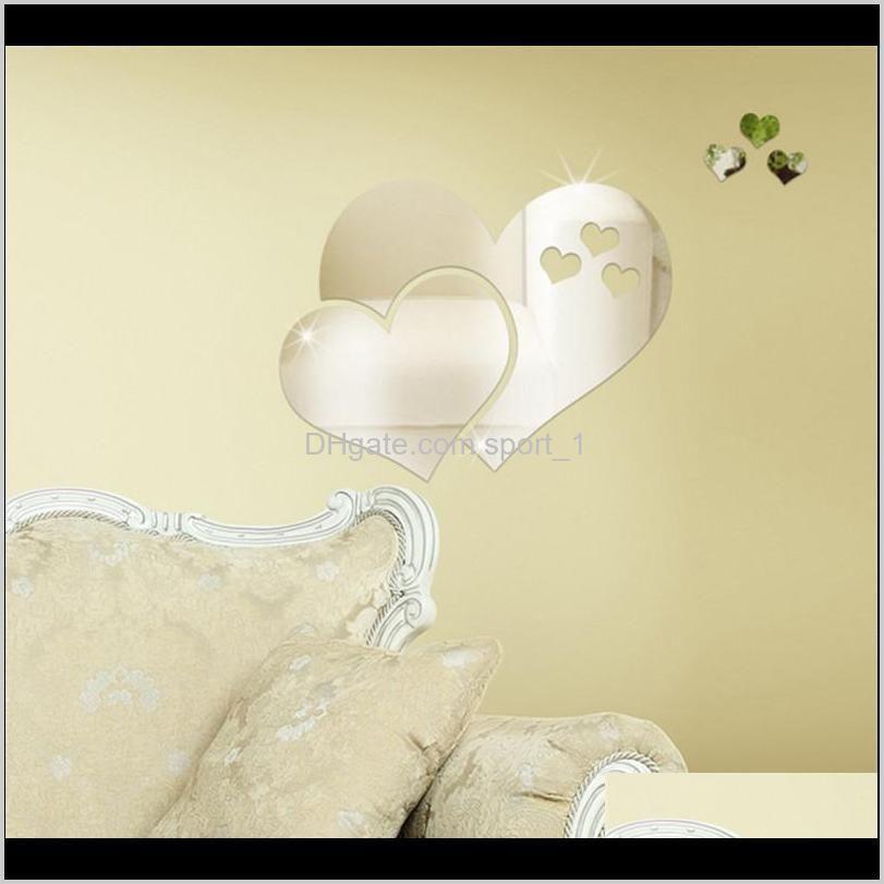 acrylic mirror wall stickers 3d creative heart shape mirror wall stickers diy room decorative decal heart mirrors