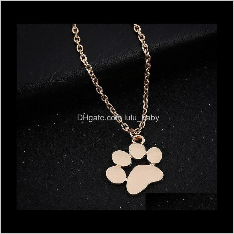 new pendant necklace cat and dog paw print animal jewelry women necklace cute delicate statement necklaces