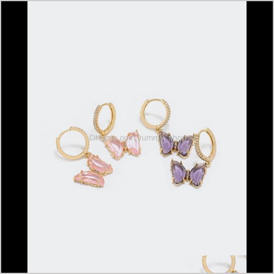 luxury jewelry women pink purple glass butterfly designer necklaces copper with gold plated pendant necklaces for girl fashion style