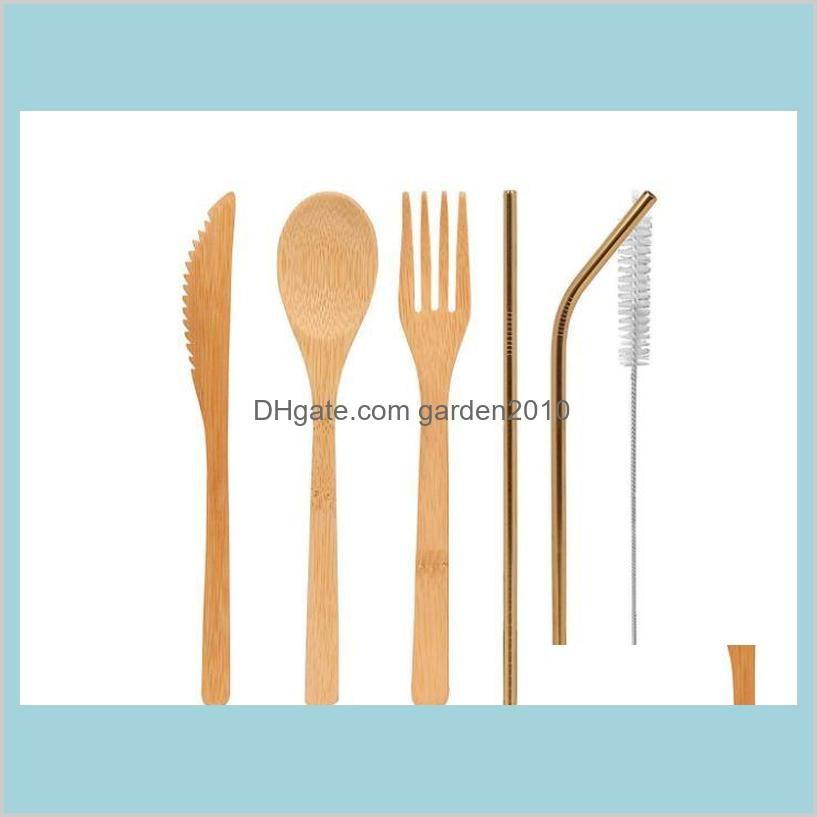 Bamboo Cutlery Set 5Pcs/Set spoon Fork