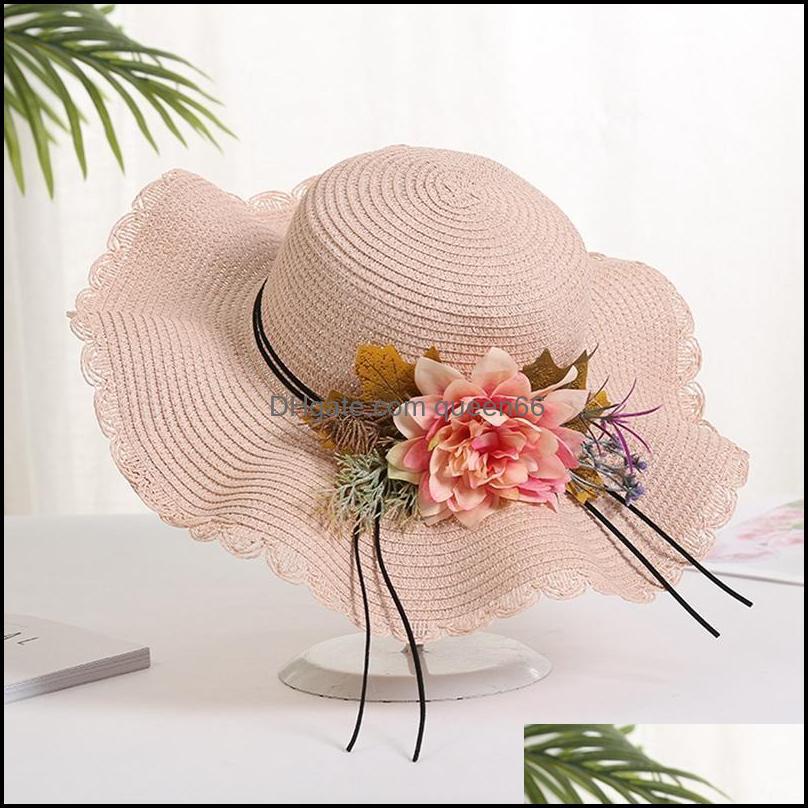 Summer Female Sun Hat Flower Ribbon Panama Beach Hats For Women Sombrero Floppy Straw Wide Brim