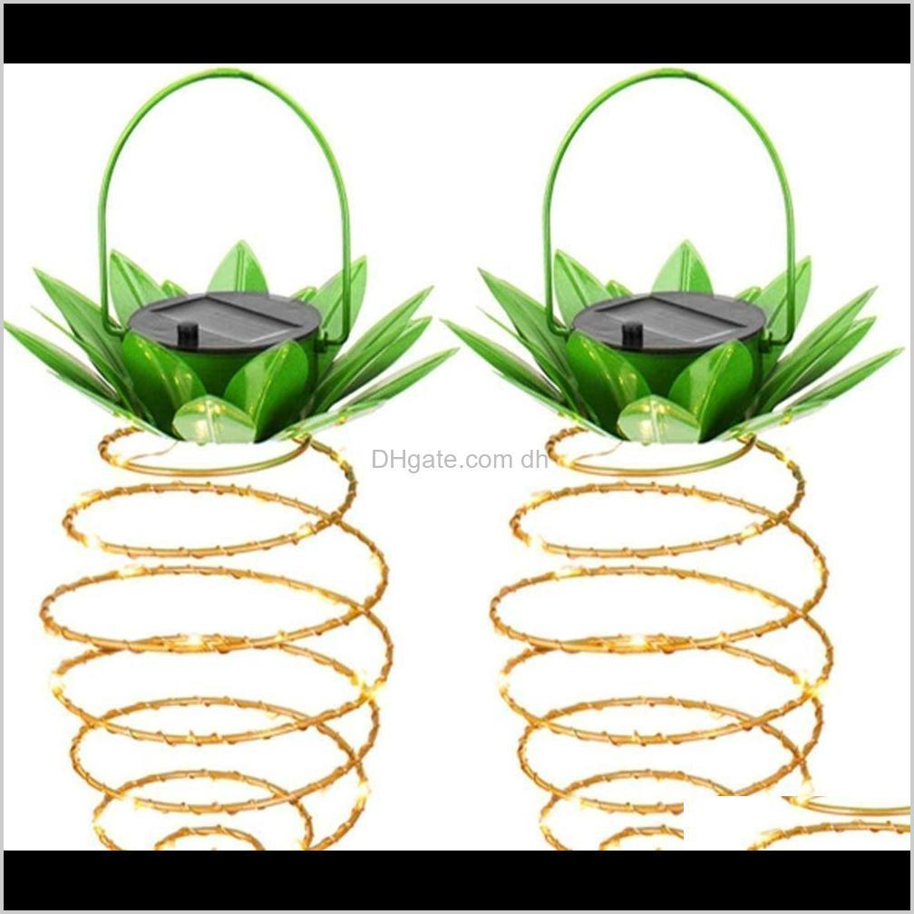 solar garden lights pineapple shape solar hanging light waterproof wall lamp fairy night lights iron wire art home decorations owf2719