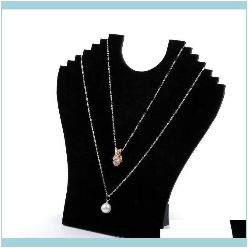 Jewelry Necklace Chain Display Stand Cardboard Black Velvet Elegant Foldable Jewellery Displays For Shop Shelf Boutique Kiosk Crafts