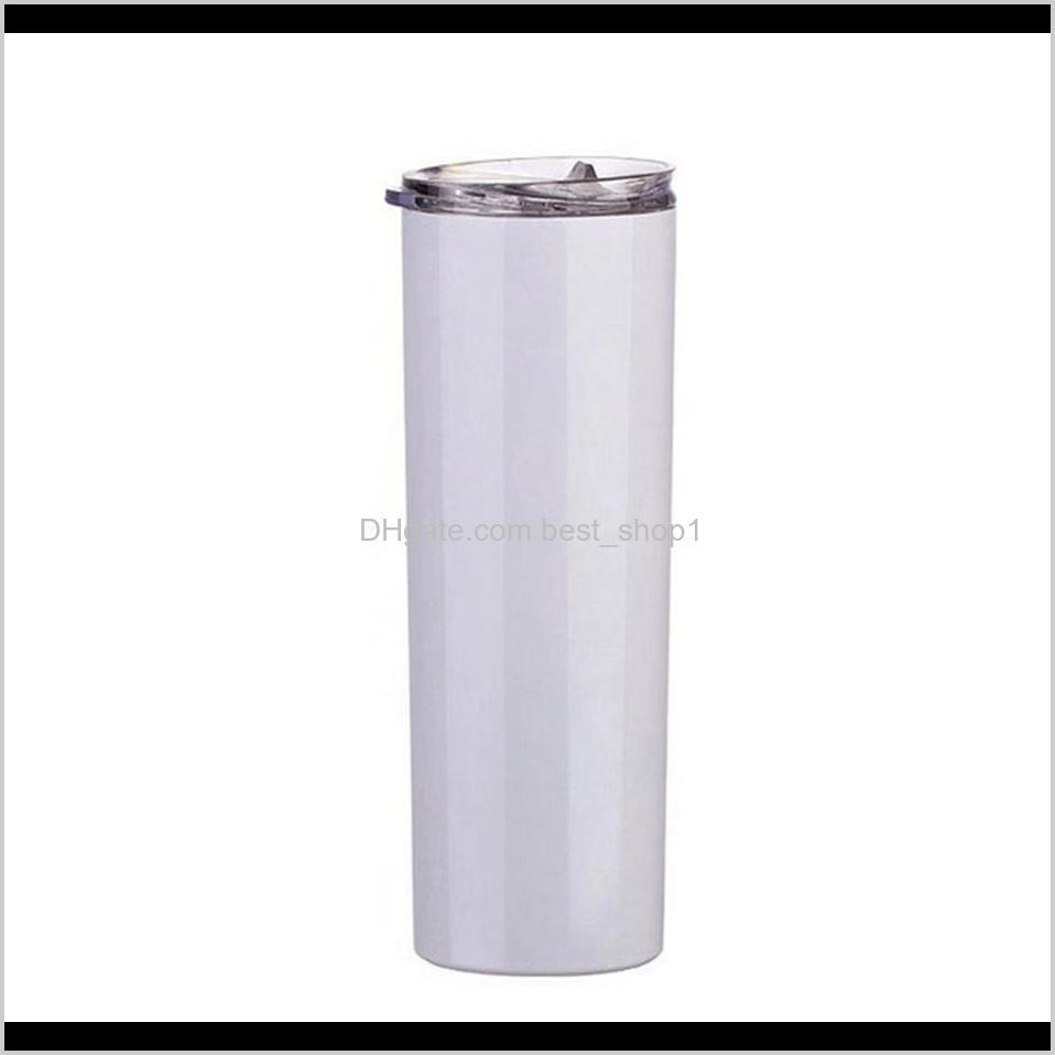 20oz 600ml diy heat sublimation tumbler blank stainless steel skinny insulated tumblers straight cup beer coffee mug sea shipping