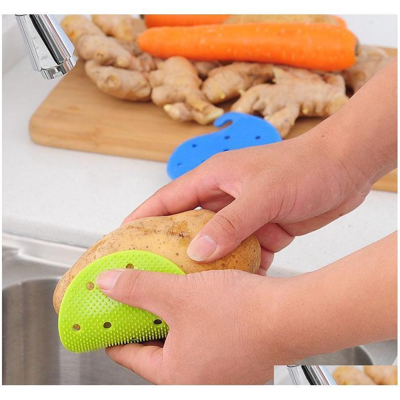 vegetable cleaning brush 2017 new arrival silicone fruits brush for potato carrot ginger cleaning shipping xl-g244