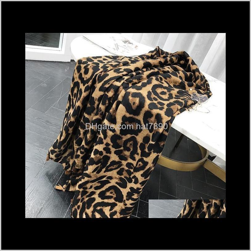 2020 Women Brand Fashion Leopard Dot Tassel Viscose Shawl Scarf Print Soft Wrap s Sjaal Muslim Hijab Snood 180*100Cm