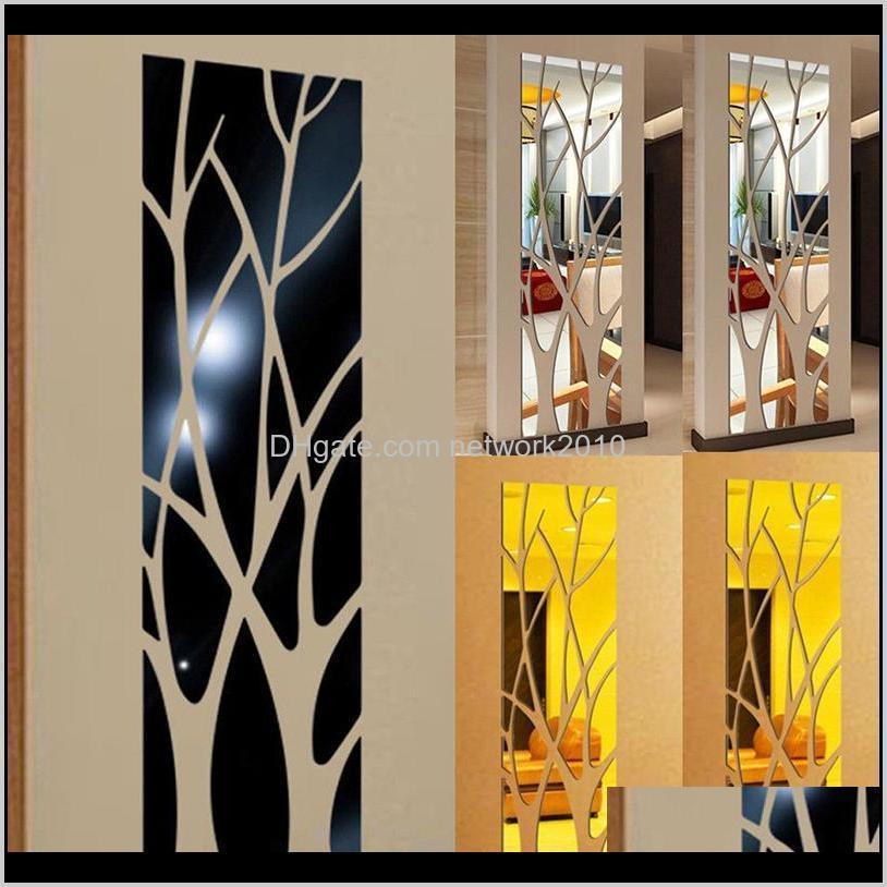 3d mirror wall stickers tree shaped self adhesive removable acrylic multicolor decal diy home living room bedroom tv background decor