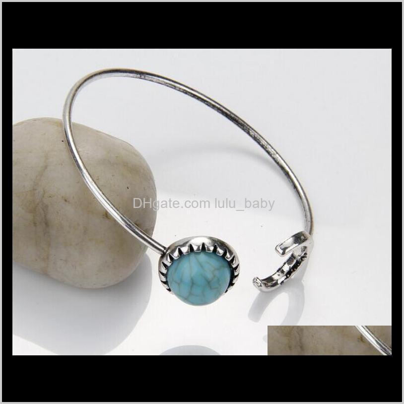 brand designer fashion lady turquoise bangles women boutique moon shape round stone cuff bangles ps2885