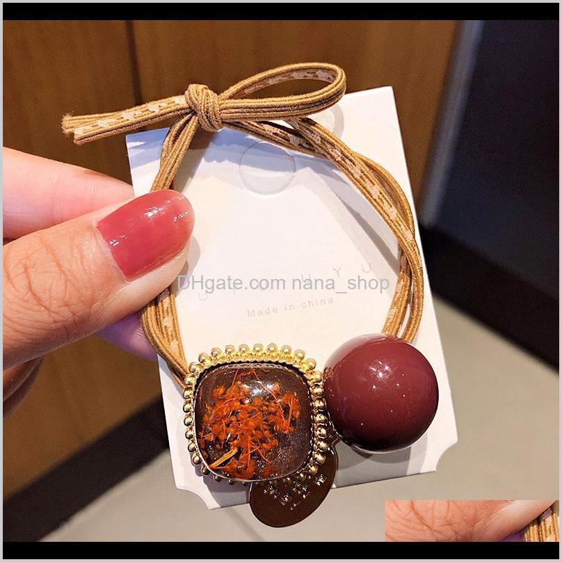 new women elegant vintage geometric elastic hair bands ponytail holder scrunchie rubber bands fashion hair accessories