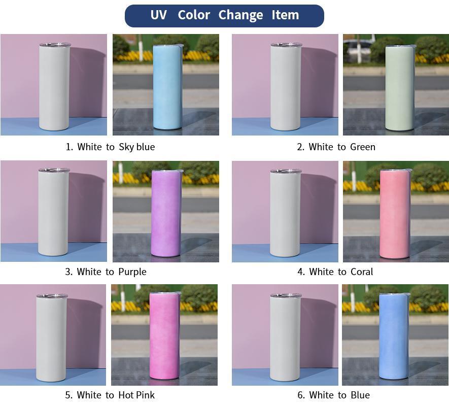 Schnelles Schiff UV-Farbwechsel-Tumbler 20Oz-Sublimation-Tumbler-Sonnenlicht-Erfassungs-Edelstahl-gerader Tumbler mit Deckel und Strohhalmen