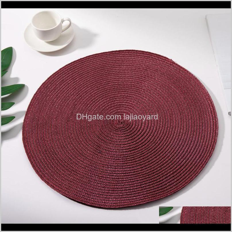 dining napkin pads round pp plastic weave placemat table mats non slip heat resistant coaster cushion kitchen party decoration wmtwrv