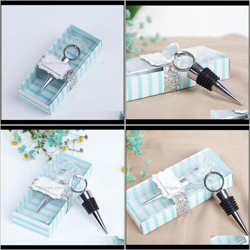 crystal diamond ring wine bottle stopper party favors wine stoppers with gift package wedding favors gifts giveaways