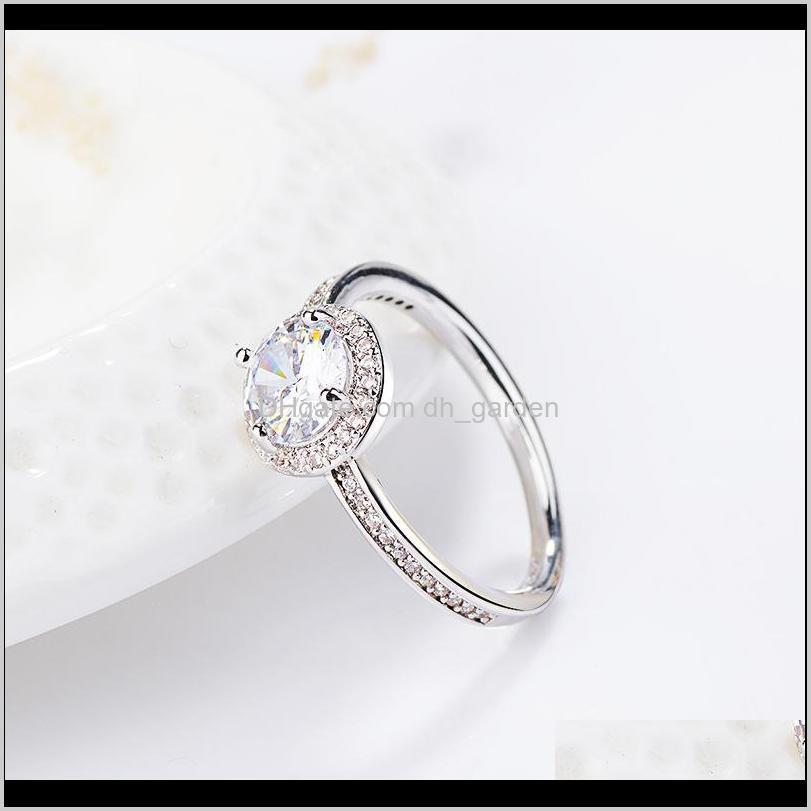 simple design big cz copper ring fit pandora style wedding ring party gift engagement jewelry for women
