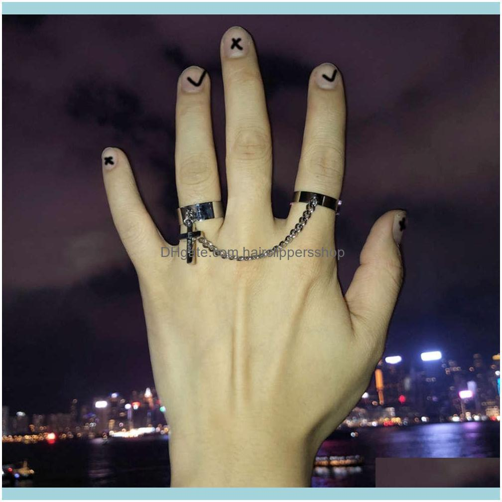 Vintage Cross Chain Ring Adjustable Joint for Women Men Silver Plated Hip Hop Punk Finger s Party Jewelry