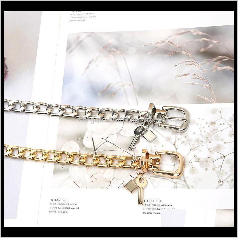 s1766 girls women`s jeans decoration belt metal belts heart key lock thin metal belt