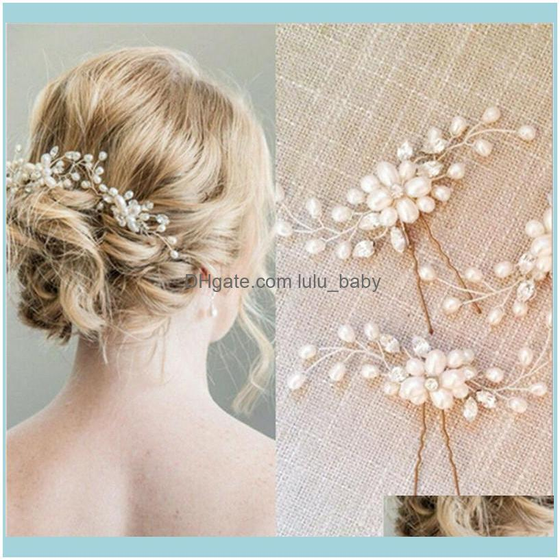 Crystal Pearl Bridal Tiaras Hairbands Hairpins Bridesmaid Diamante Hair Vine Accessories Wedding Jewelry 35cm Headwear