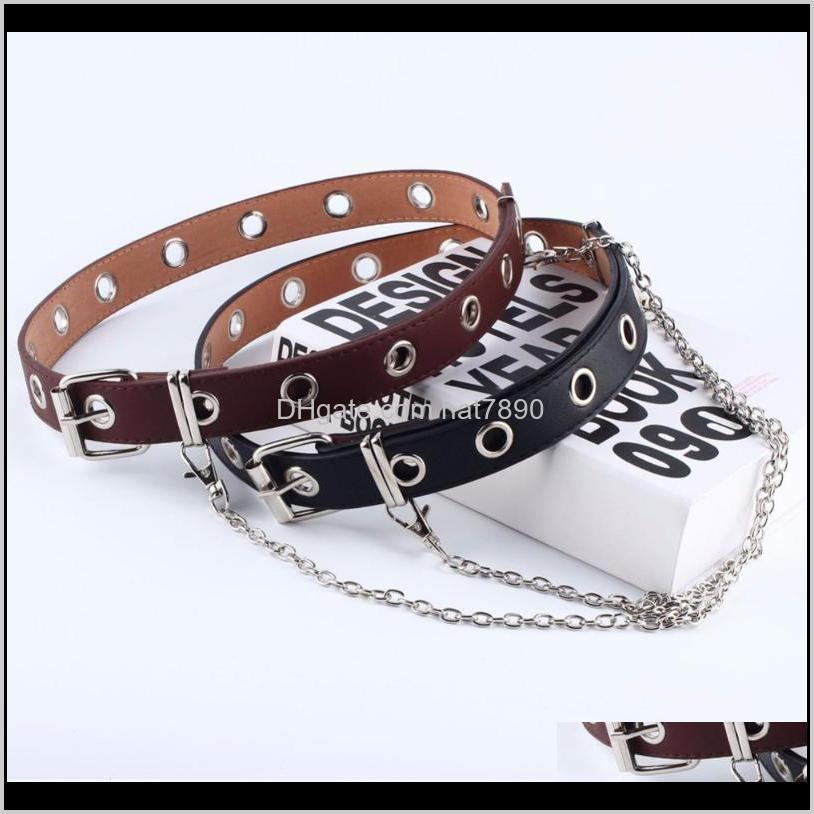 Fashion Belt Adjustable Women Black Double/single Eyelet Grommet Leather Buckle Belt