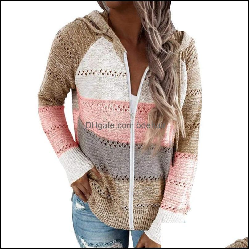 Running Jackets Fashion Thin Hooded Knit Sweaters Cardigan Women Autumn Patchwork Knitwear With Zipper Loose Hollow Out Tops Outwear Ropa