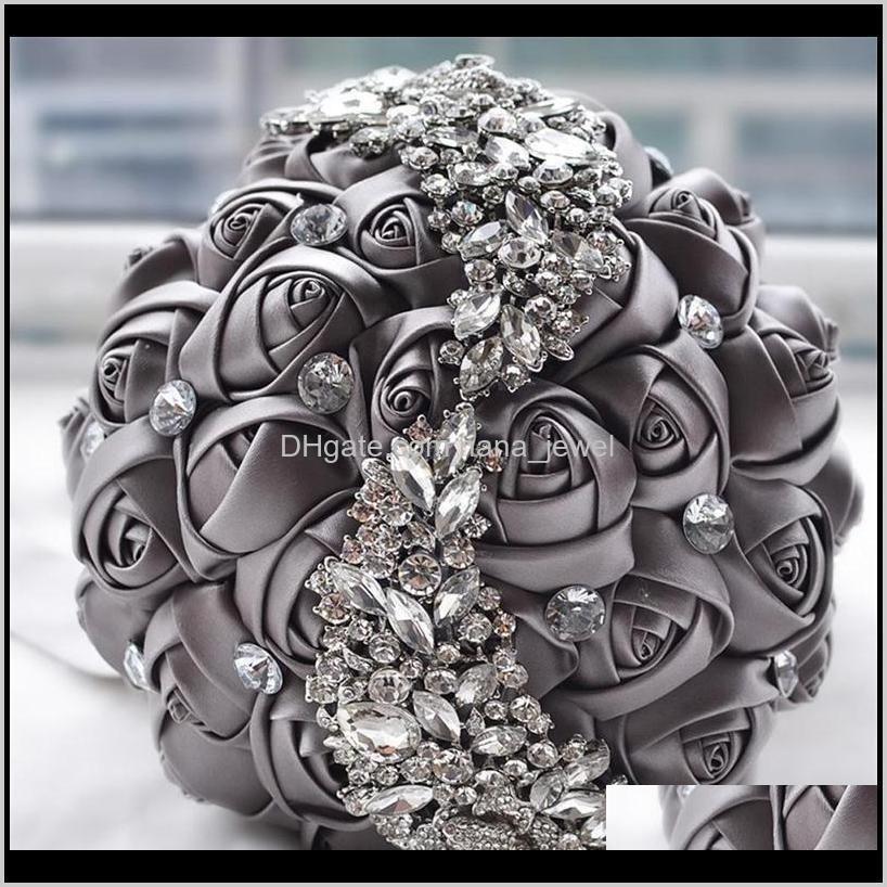 hot sale crystal brooch wedding bouquet wedding accessories bridesmaid artifical satin flowers wedding flowers bridal bouquets