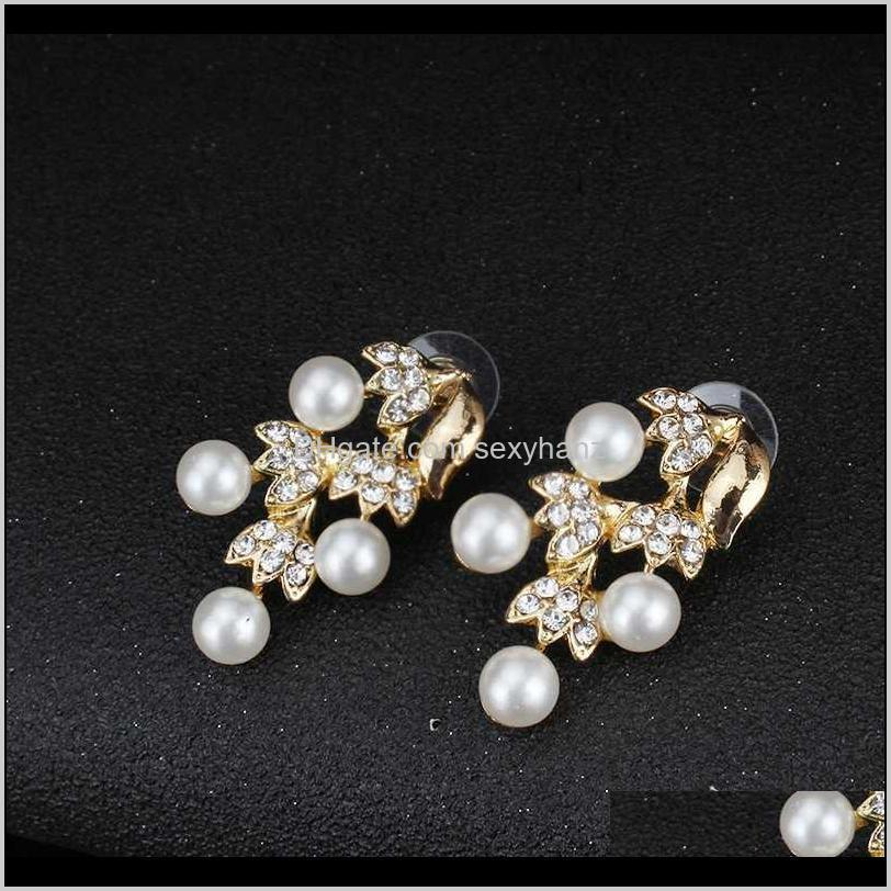imitation pearl necklace earrings dubai wedding jewelry set for women dresses accessories gold colors