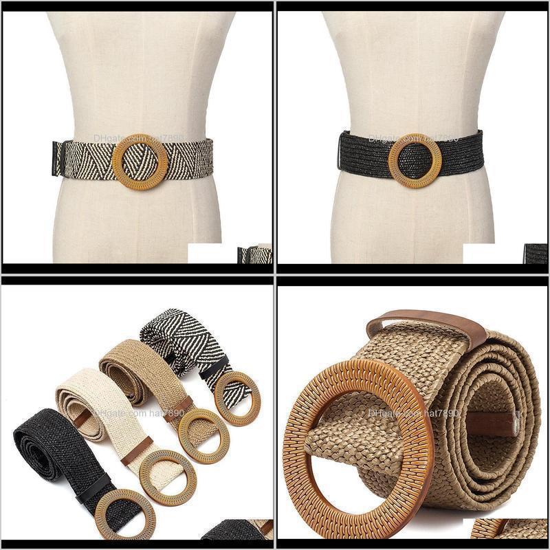 Female Straw Wide Belt Woven Vintage Round Wooden Buckle Decorative Dress Shirt Belt Khaki