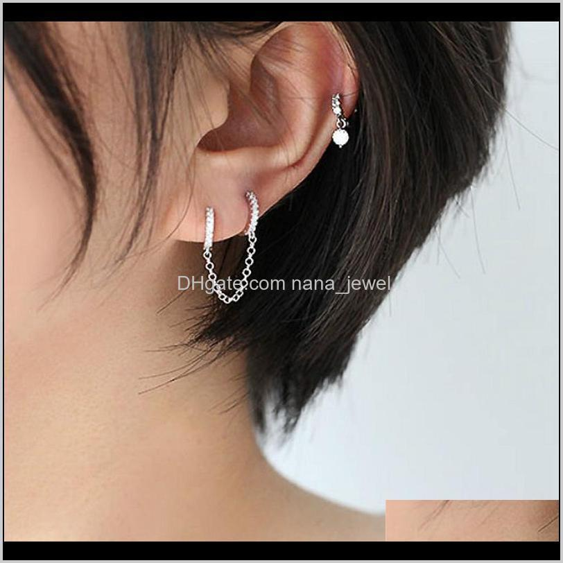 huitan single simple mini circle link chain women earrings personality shiny cz female daily earring fancy gifts fashion jewelry
