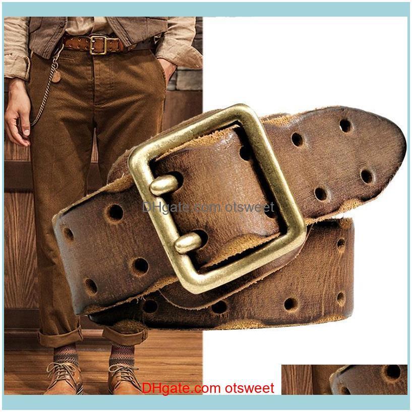 Belts Needle Belt Buckle Luxury Thick Retro Leather Men Men`s Jeans Military