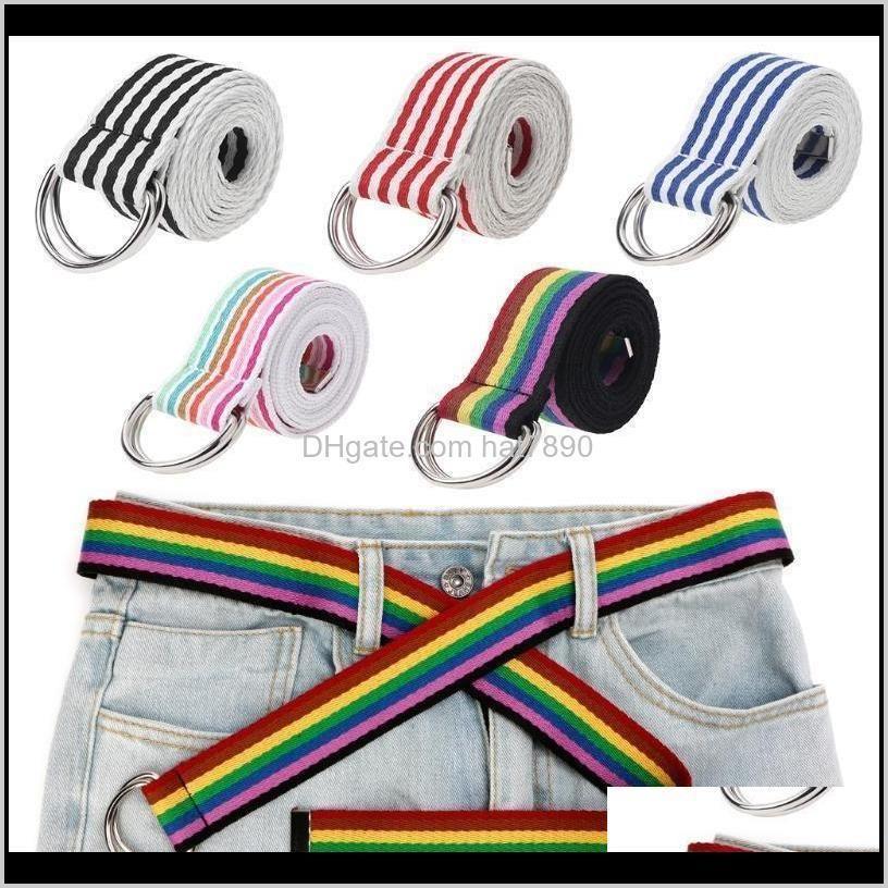 Buckle Waist Belt Metal Double Rings Nylon Canvas Strap Casual Fashion Waistband 85wb