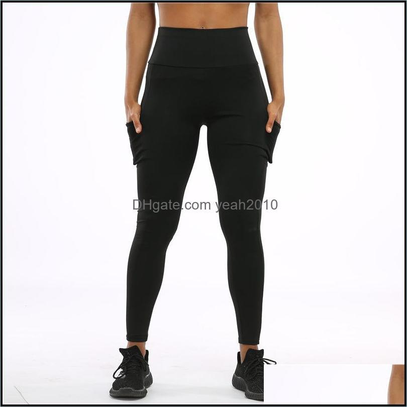 Exercise Yoga Outfit Running Jogging Gym Set Breathable Quick Dry Leggings High Waist With Pocket Sweatpants
