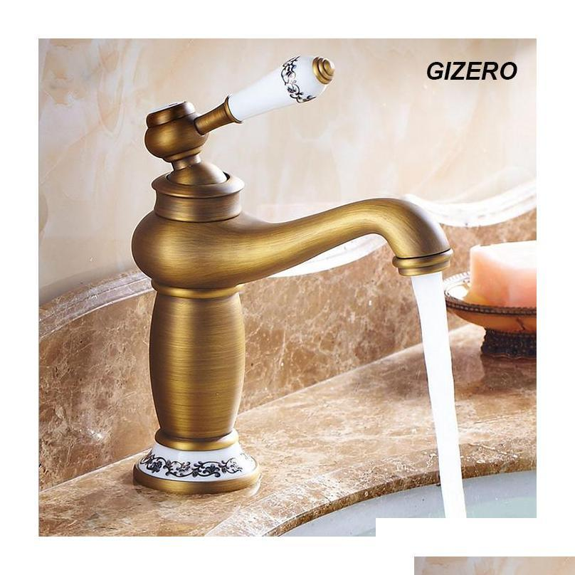 wholesale- high quality bathroom antique bronze faucet basin mixer deck mounted ceramic hot and cold water tap vessel faucet zr124