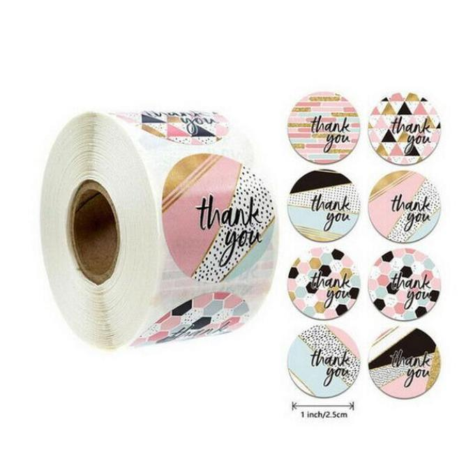 pink colors 500pcs/roll 10 styles flowers heart thank you adhesive sticker scrapbooking handmade business packaging seal decoration