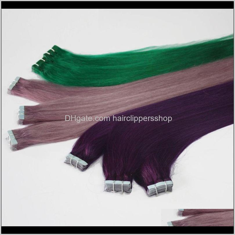 ce ceitification wholesale factory directly 2.0g 2.5g/piece 60pcs/lotbrizilian virgin human hair gray color tape hair extensions