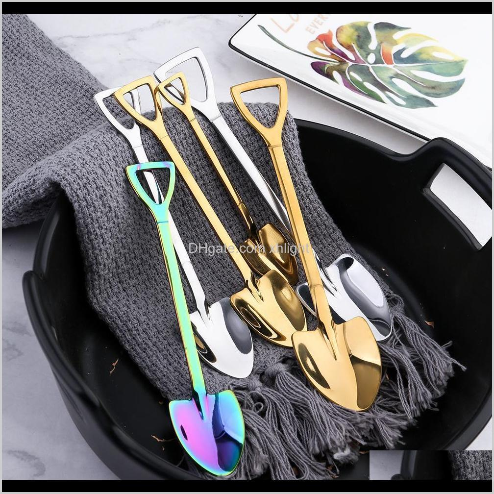 stainless steel shovel shape ice cream spoon multi-color spoon fork long handle coffee ice cream tools kitchen accessories