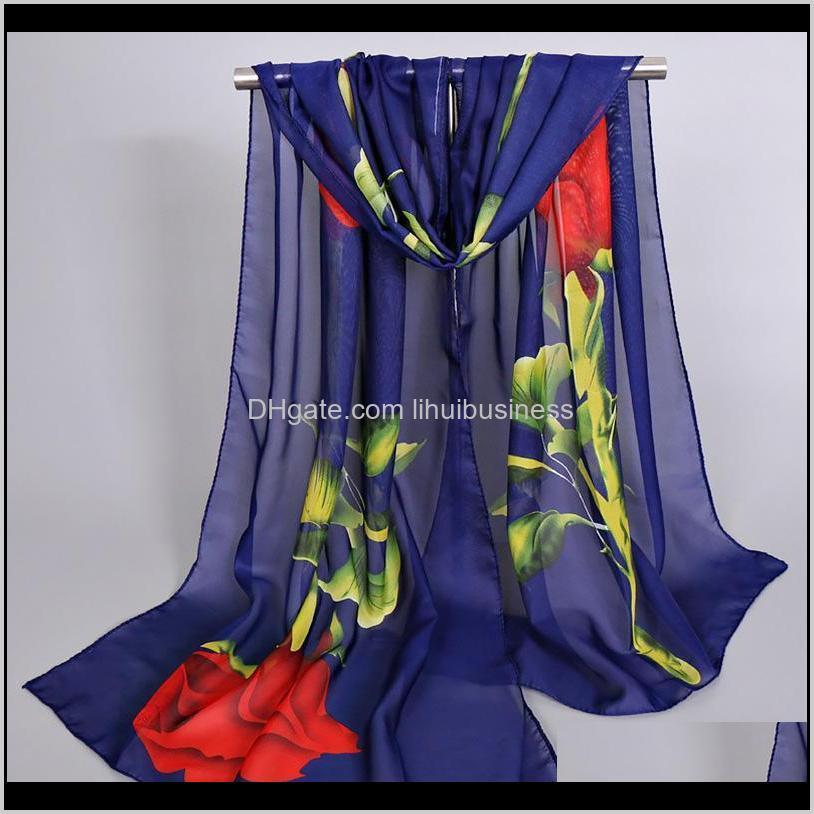 rose printed silk scarf shawl women summer long chiffon soft thin breathable sun protection masks fashion head wrap scarves