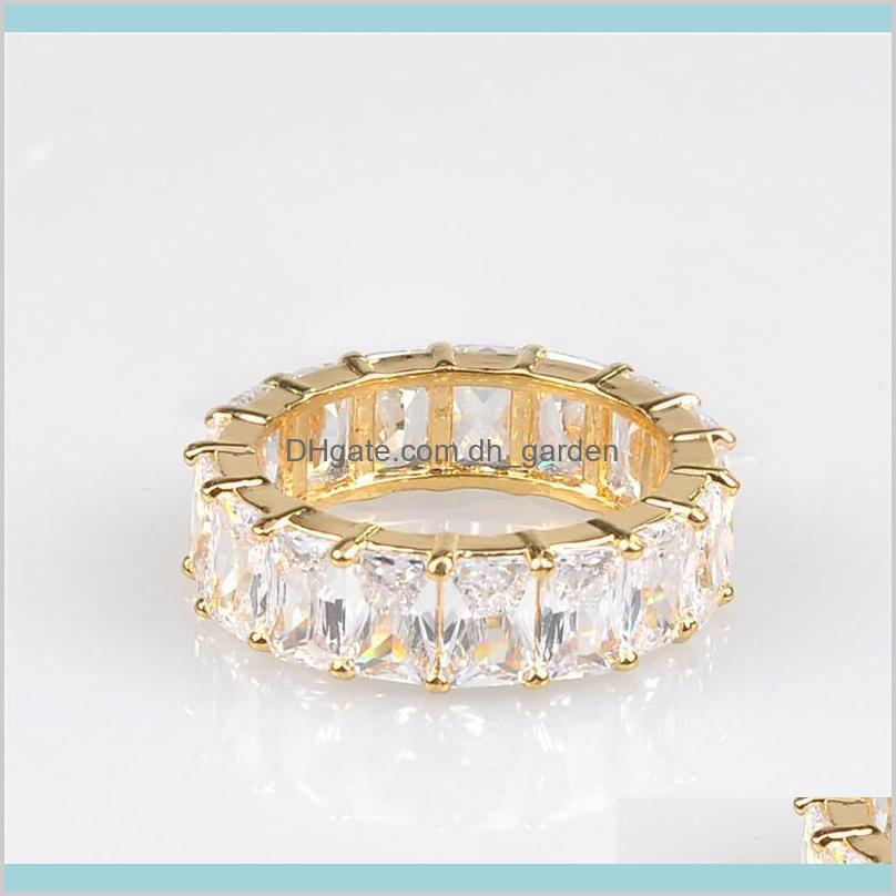 newest fashion deaigner jewelry rainbow square baguette cz engagement ring for women gold plated cubic zirconia colorful eternity band