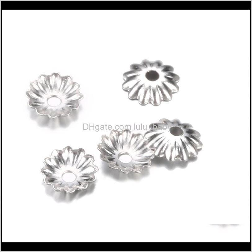 500pcs/lot stainless steel torus bead caps for pearl end receptacle flower diy spaced apart jewelry accessories for wholesale